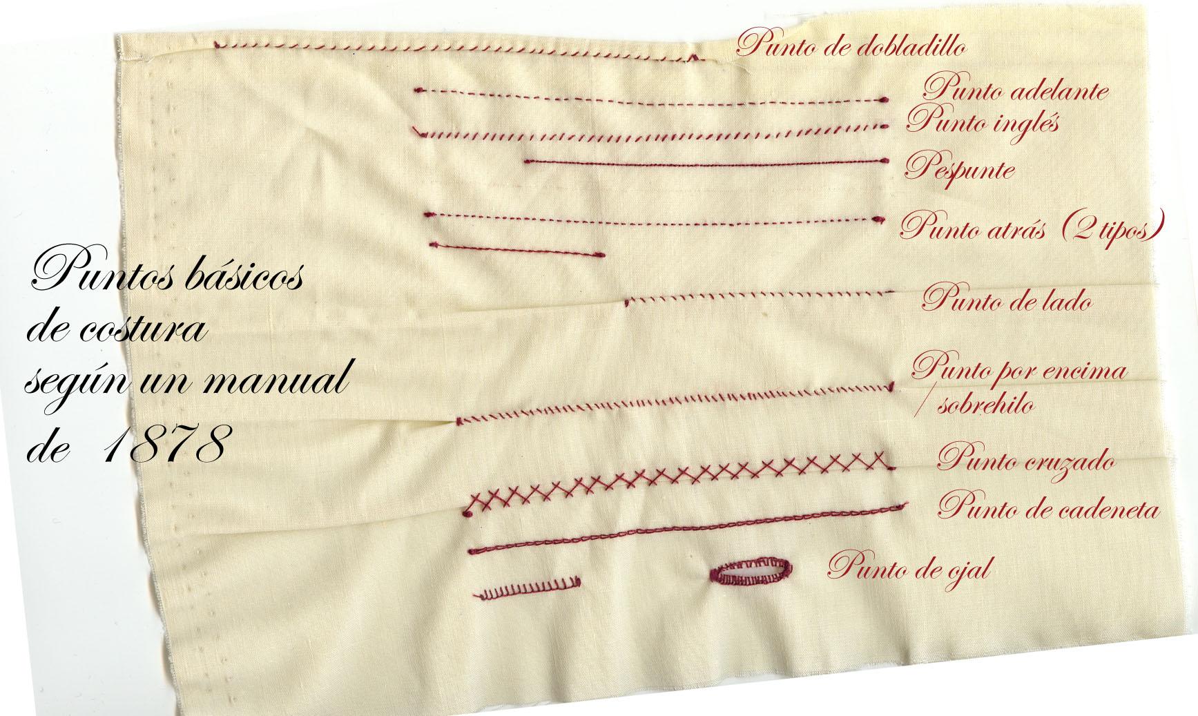 Muestrario de puntos según manual de costura de 1878